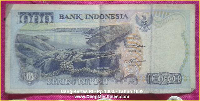 Gambar Mata Uang Kertas RI Rp 1000,- Tahun 1992 bergambar Danau Toba Sumatera
