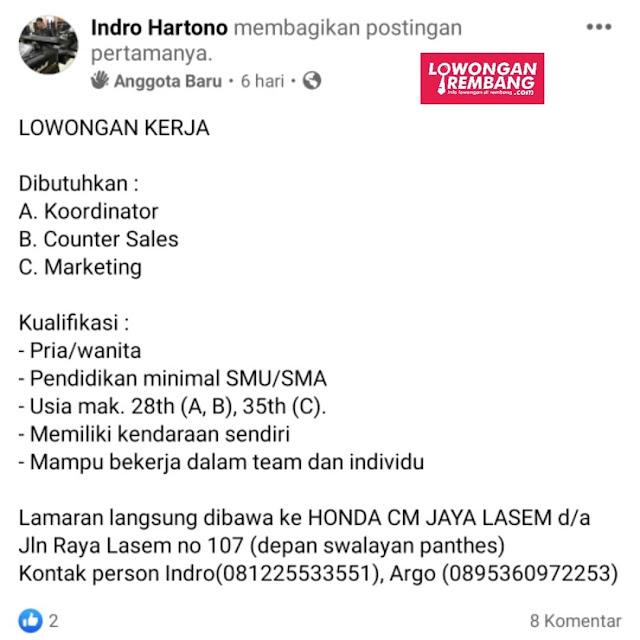 Lowongan Kerja Koordinator Counter Sales Marketing Honda CM  Jaya Lasem Rembang