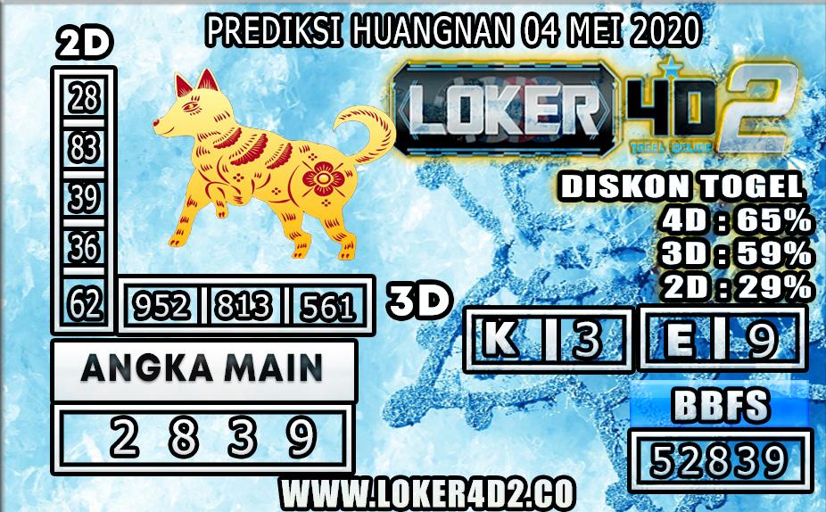 PREDIKSI TOGEL HUANGNAN LOKER4D2 04 MEI 2020