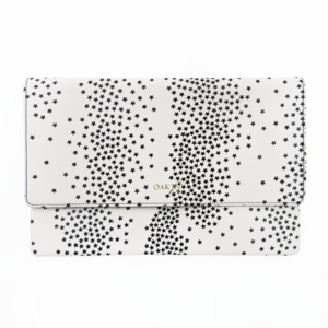 BLACK ON WHITE STARS CLUTCH