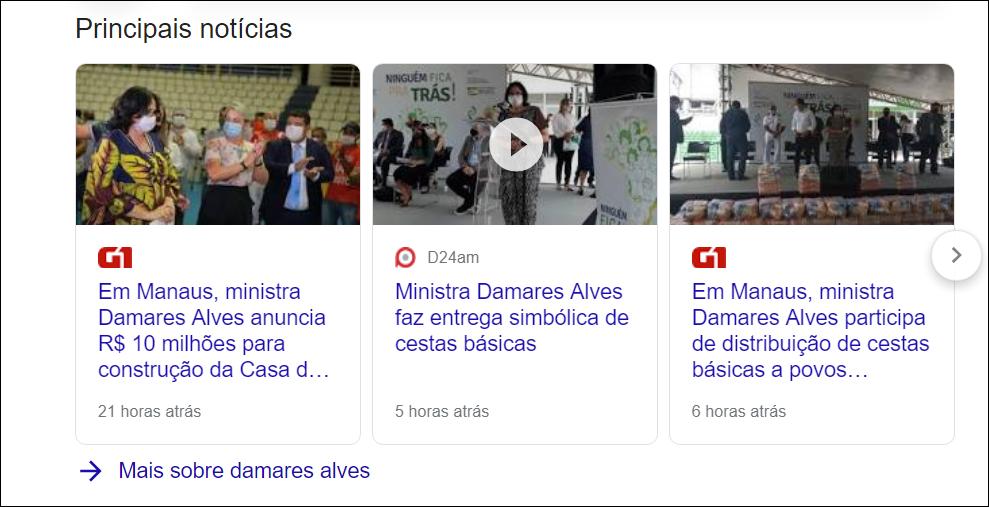 Damares Alves realiza ações em Manaus. Reprodução: Google
