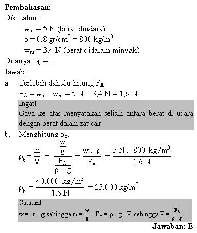 Menghitung massa jenis benda jika berat diudara diketahui