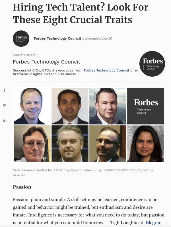 Tigh Loughhead writes in Forbes about hiring for technlology jobs