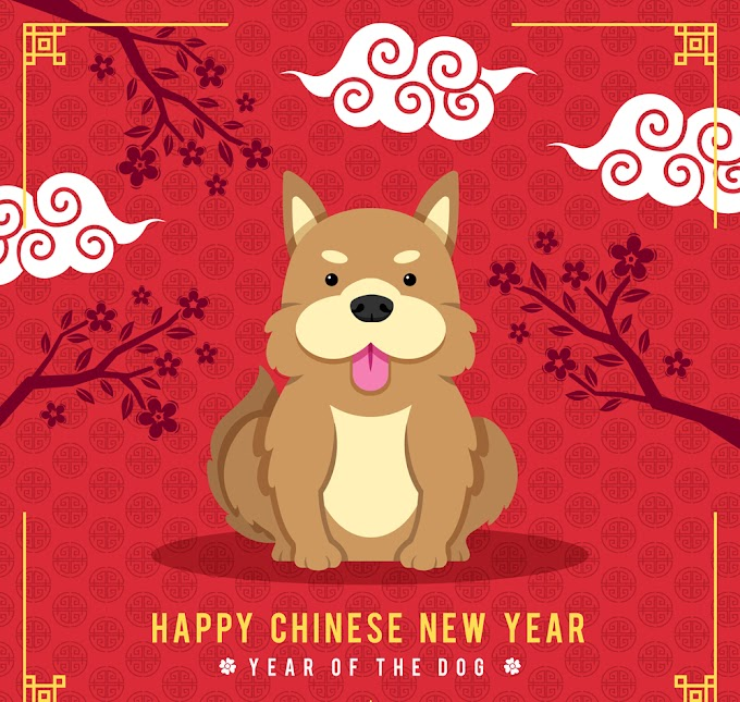 2018 Chinese New Year cute dog greeting card free vector material
