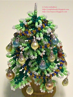 Decorated Christmas tree out of beads
