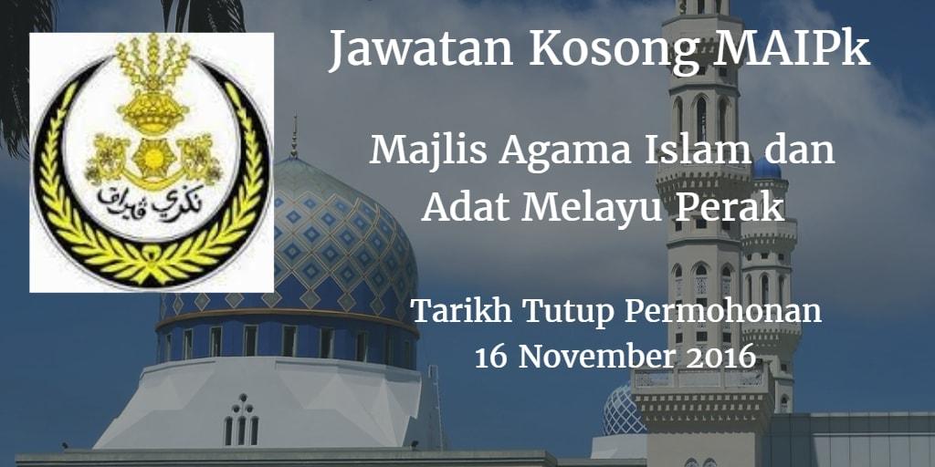 Jawatan Kosong MAIPk 16 November 2016