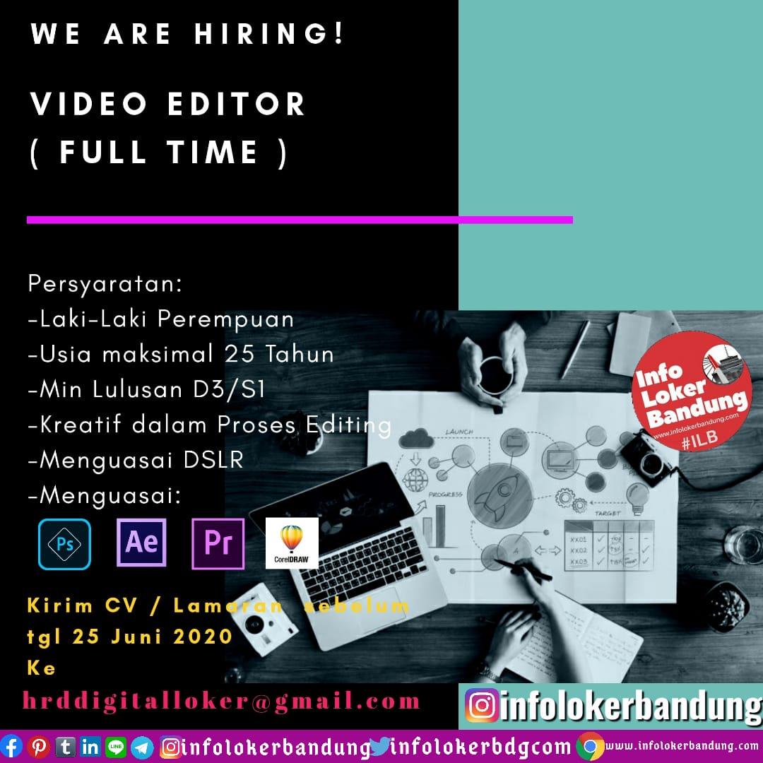 Lowongan Kerja Video Editor ( Full Time ) Bandung Juni 2020