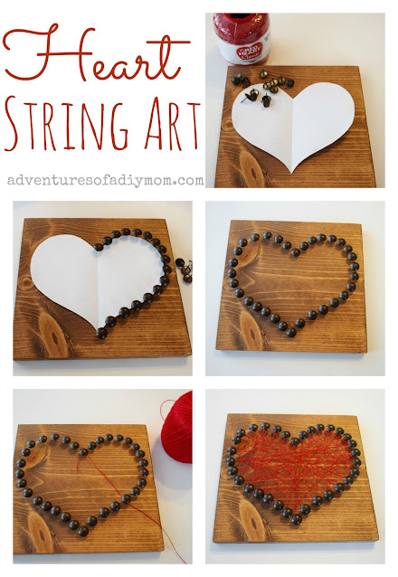 collage of steps for making heart string art