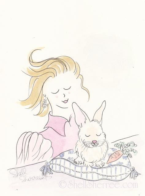 Fashion and Fluffballs illustration: Hop To It, Honey Bunnies  © Shell-Sherree