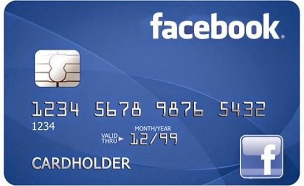 Cartão de crédito com logo do Facebook metaforizando transações financeiras na rede social