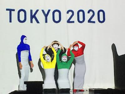 Siro-A recreate Tokyo 2020 Olympics symbol at That's ZENtertainment. Asakusa, Tokyo.