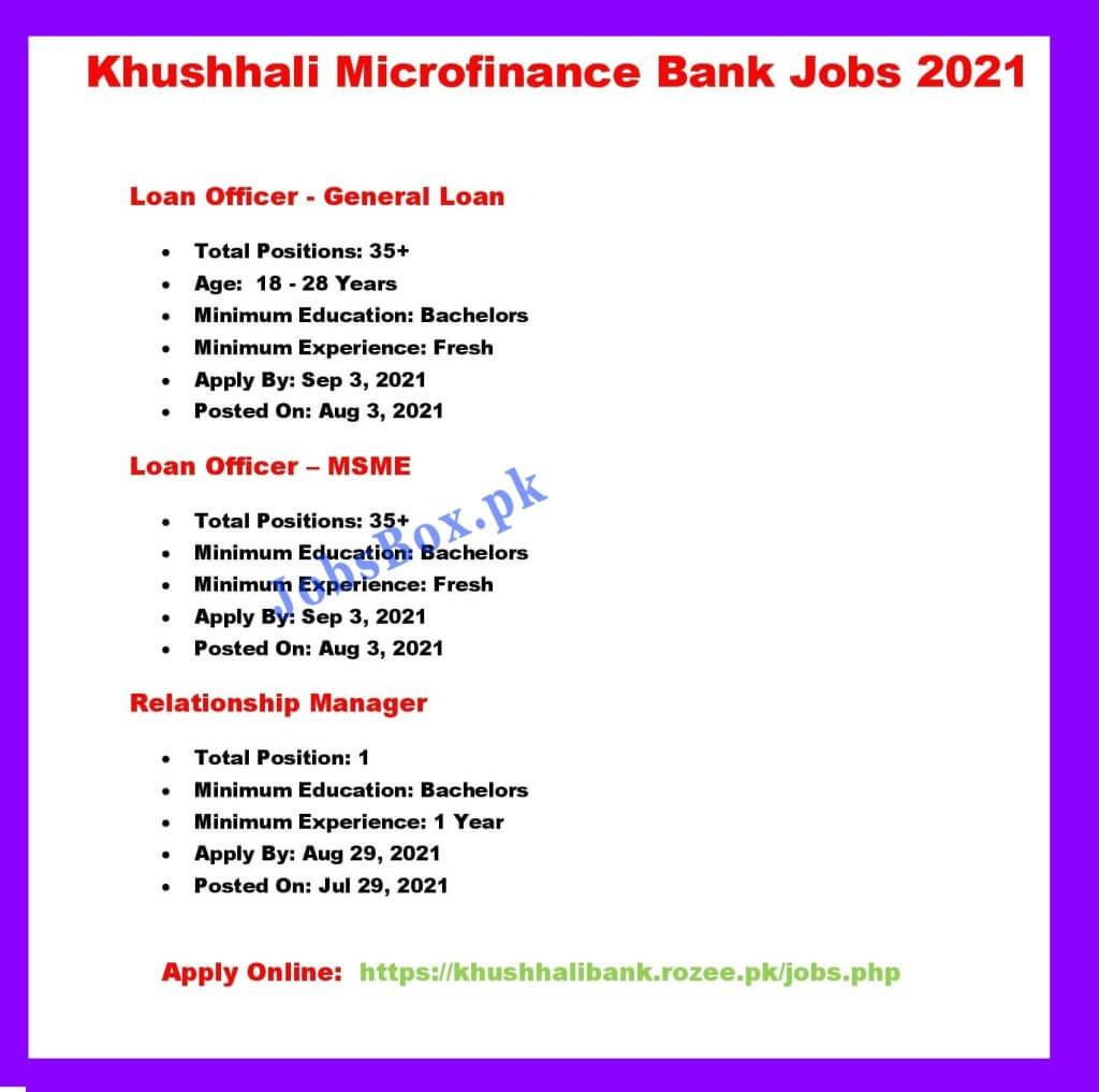 Khushhali Bank Jobs 2021 - Khushhali Bank Careers - KBL Jobs 2021 Khushhali Bank Jobs Online Apply 2021