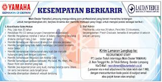 Open Recruitment di PT. Lautan Teduh Interniaga (Main Dealer YAMAHA) Lampung Terbaru 2018