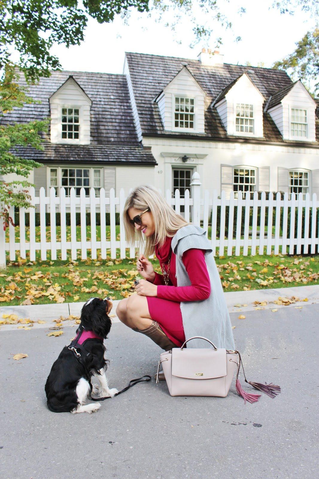 Bijuleni - Miik Cowl Pocket Cranberry Dress with Grey Sweater Vest, Ann Taylor Ankle Boots, Kate Spade handbag