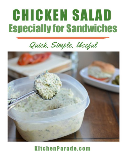 Chicken Salad for Sandwiches ♥ KitchenParade.com, simple, fresh, useful. WW Friendly. High Protein.
