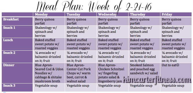 breakfast lunch and dinner meal plan for a week - Tower