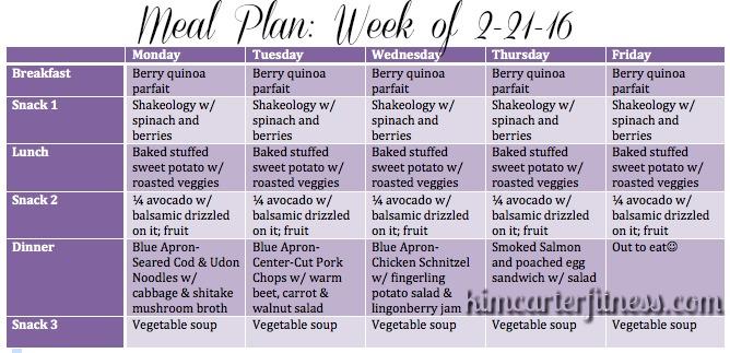 kim carter fitness meal plan week of 2 22 16