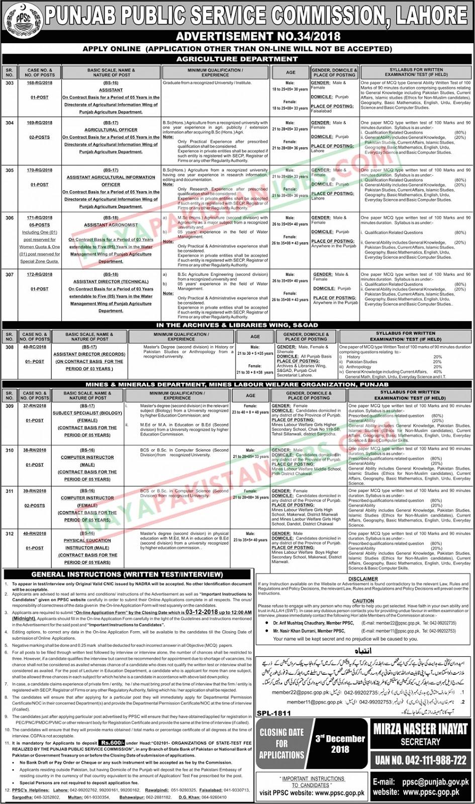Latest Vacancies Announced in PPSC.GOP.PK Punjab Public Service Commission PPSC 18 November 2018 - Naya Pakistan