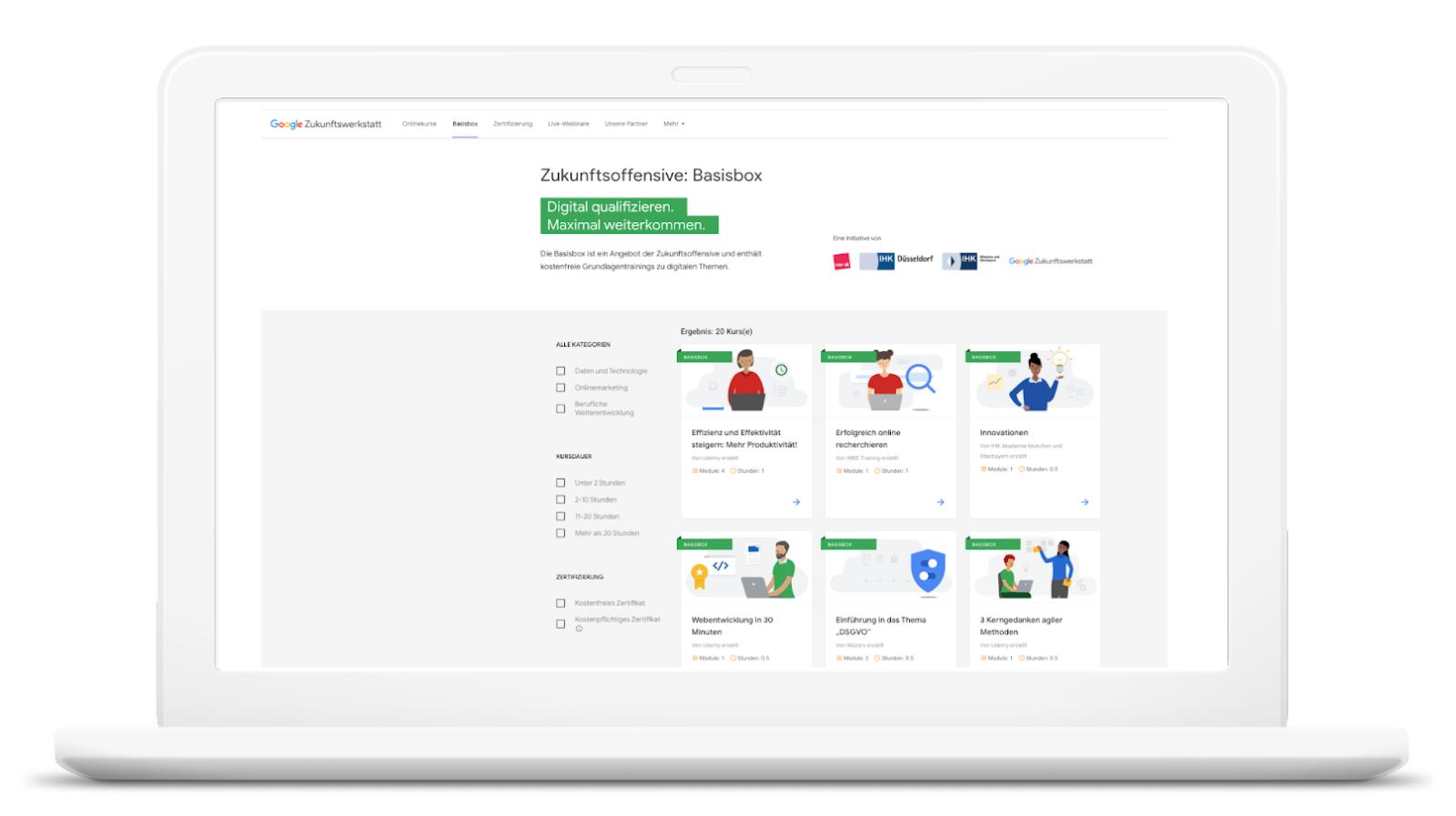 Screenshot der Webseite mit den Workshop Angeboten