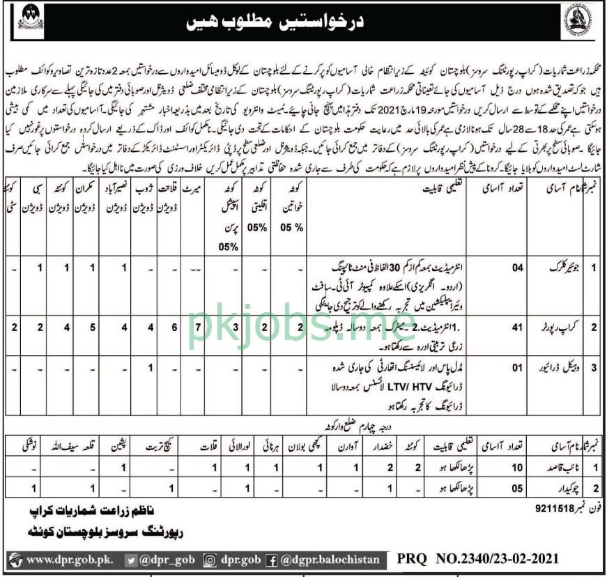Latest Agriculture Department Balochistan Management Posts 2021