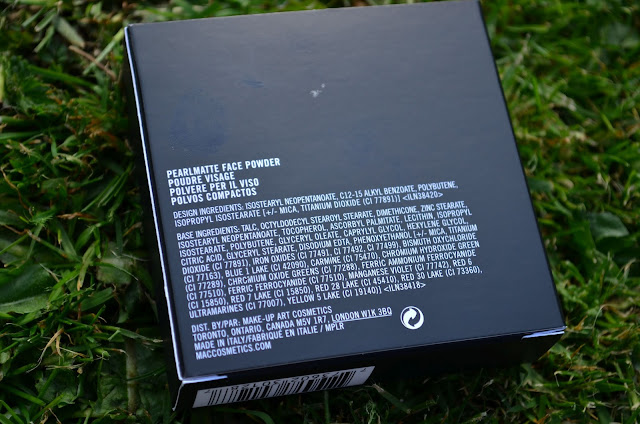 Image of the back of the box of the MAC Pearlmatte Face Powder