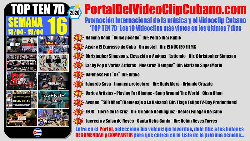 Artistas ganadores del * TOP TEN 7D * con los 10 Videoclips más vistos en la semana 16 (13/04 a 19/04 de 2020) en el Portal Del Vídeo Clip Cubano
