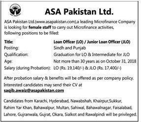 Asa Pakistan Ltd Karachi Jobs