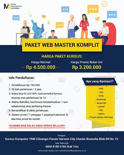 kursus web master di cileungsi untuk masyarakat cileungsi, cibubur, gunung putri, jonggol, bekasi, depok dan sekitarnya