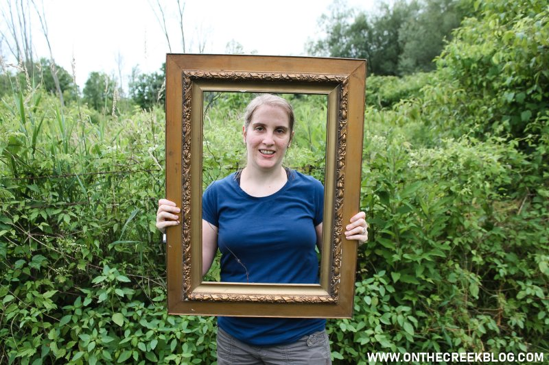 It's super fun posing in an empty frame! | Thrifting Finds! | On The Creek Blog