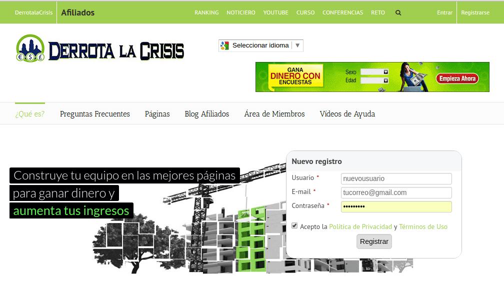 Registro en Derrota La Crisis Afiliado