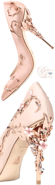 Brilliant Luxury ♦ Ralph & Russo Eden Eve pumps in pink satin with rose gold leaves