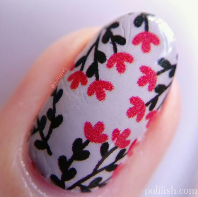 Floral nail art with water decals from Born Pretty Store | polilish