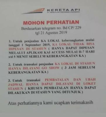 Loket Stasiun Tidak Melayani Pemesanan KA Lokal