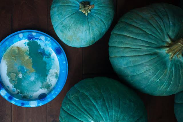 Painting pumpkins blue - Gwen Moss