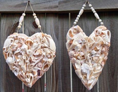 Handmade Heart Art with Driftwood Shells Rocks and Seaglass  Coastal Decor Ideas Interior