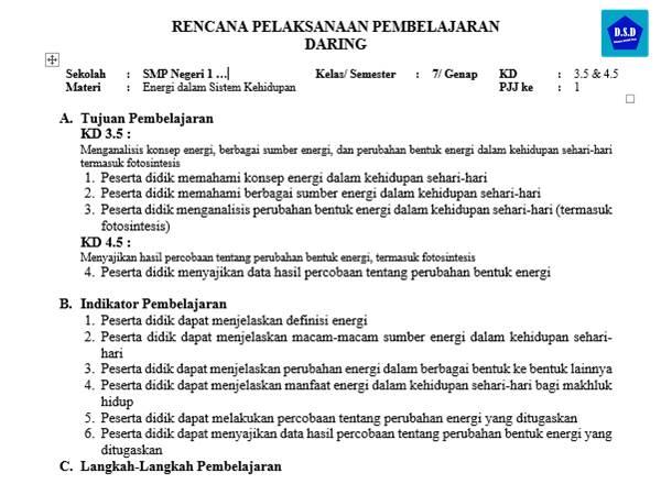 Contoh RPP Daring IPA Kelas 7 Tentang Energi (Dilengkapi Lembar Kerja Percobaan)