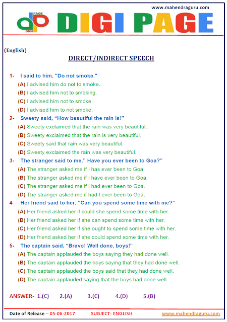 DP | DIRECT/INDIRECT SPEECH | 5 - JUNE - 17 |