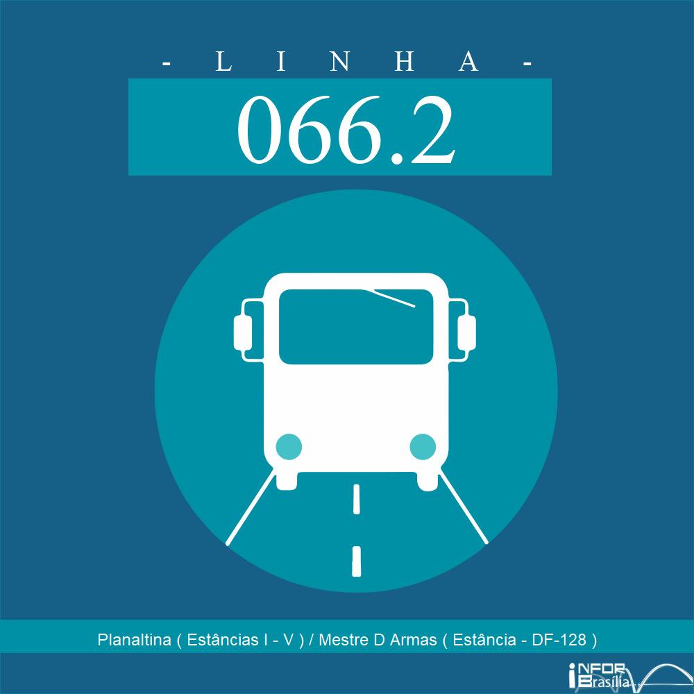 Horário de ônibus e itinerário 066.2 - Planaltina ( Estâncias I - V ) / Mestre D Armas ( Estância - DF-128 )