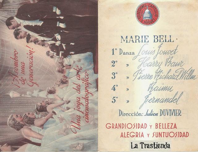 Programa de Cine - Carnet de Baile - Marie Bell - Louis Jouvet