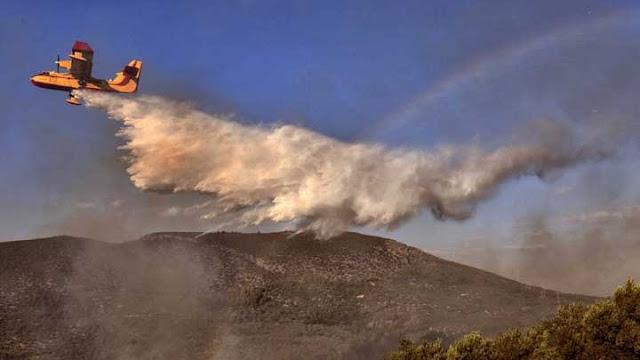 Αργολίδα: Δυο αεροπλάνα και ένα ελικόπτερο  στην κατάσβεση της πυρκαγιάς κοντά στα Δερβενάκια