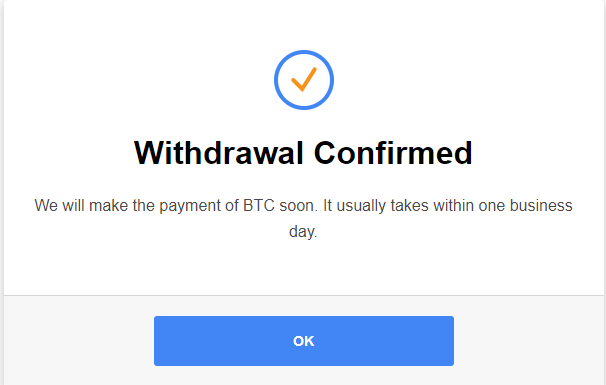 CryptoTab Withdraw Confirmed