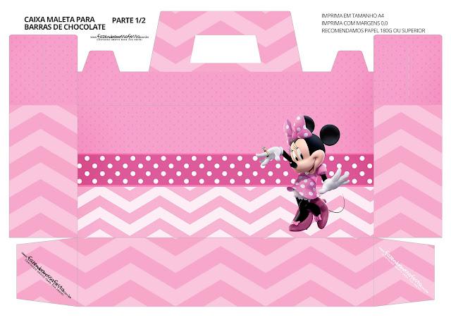 Minnie en Rosa: Caja con Forma de Maleta para Imprimir Gratis.