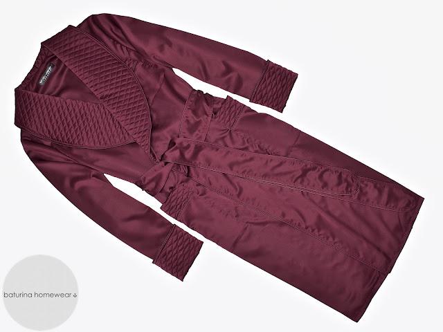 mens burgundy silk dressing gown maroon dark wine red robe smoking jacket quilted