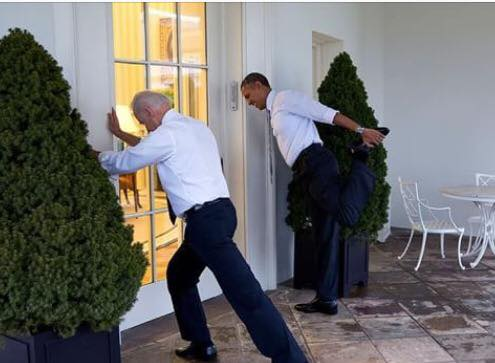 Vice President Biden and President Obama stretching