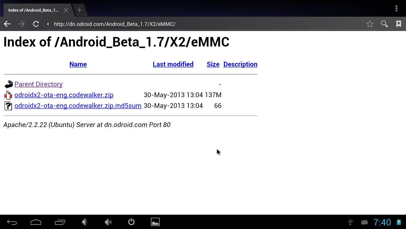 How to install update image for Android Beta 1 7 or higher