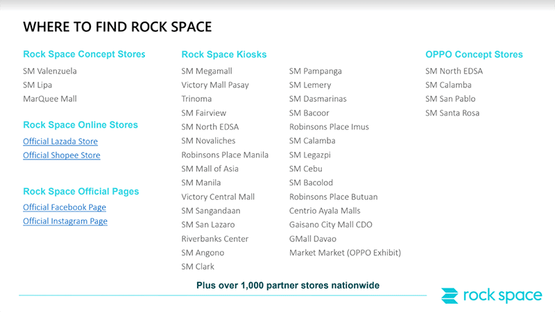 Rock Space PH branches