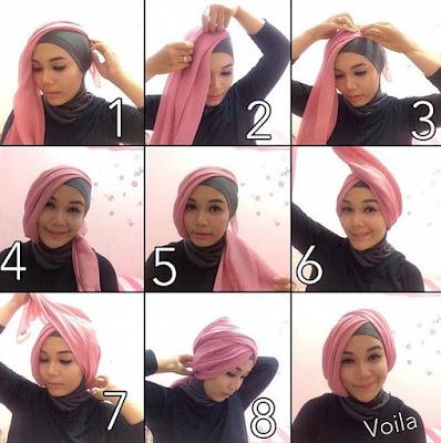 tutorial hijab pesta segi empat modern terbaru