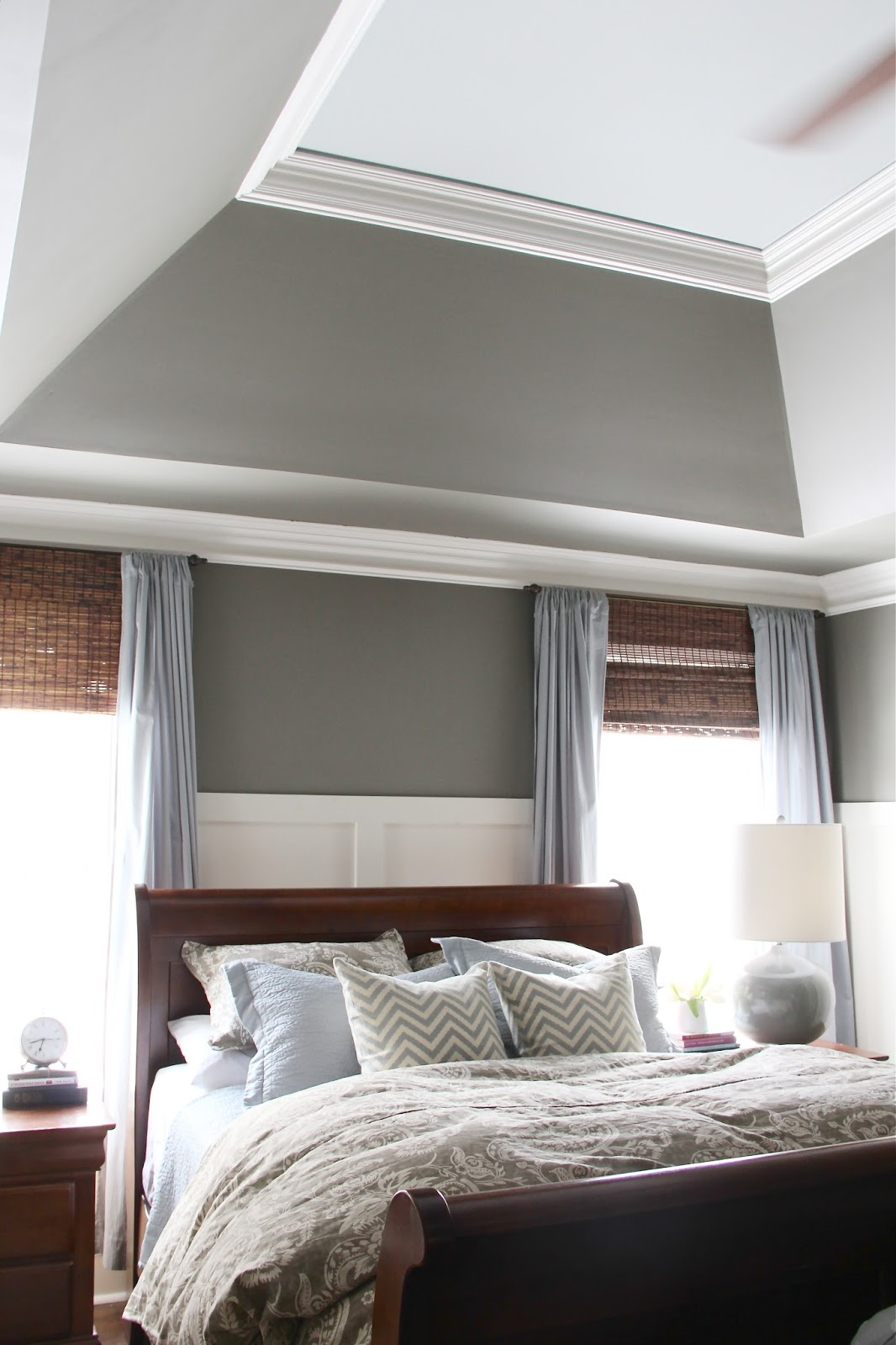 Master bedroom paint colors - love the blue ceiling (Mineral Deposit by SW)