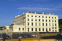 Victorian former Lord Warden Hotel in the Western Docks. Built by architect Samuel Beazley between 1848-1853. Royal Navy's HMS Wasp Shore Station in World War II. Now Lord Warden House used by freight agents. Grade II Listed Building. Port of Dover, Kent, England.