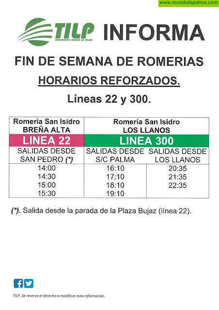 Horarios especiales de guagua para las romerías de Breña Alta y en Los Llanos